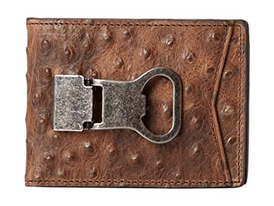 M&F Western Bi-Fold Metal Clip Wallet (Brown Ostrich) Wallet Handbags