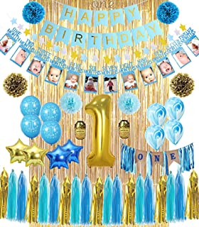 1st Birthday Boy Decorations   ALL-IN-1 MEGA Bundle!   With High Chair Banner for Baby   Discount Direct Kids Party Decorations - Blue & Gold Boys Set   #1 Birthday Balloon, Marble & Star Shaped Balloons, O'N'E Cake Topper, Pom Poms, Happy Birthday Banner & Much MORE! High Quality 