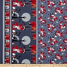 Benartex 0342894 Kanvas Feeling Foxy Double Border Grey Fabric by The Yard,