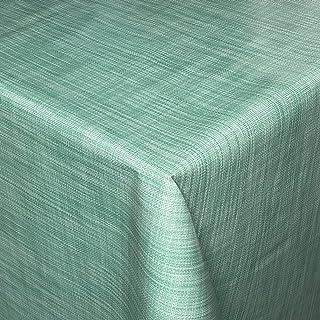 KEVKUS Nappe en toile cirée B1778-07 - Aspect lin - Vert turquoise - Bord passepoil (avec ruban en plastique) - 140 cm - R...