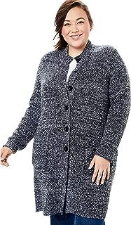 Women's Plus Size Marled Sweater Jacket