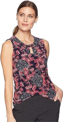 Floral Print Grommet Knit Top