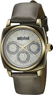 UNLISTED WATCHES Women's Dress Sport Japanese-Quartz Watch with Leather-Synthetic Strap, Grey, 22 (Model: 10030911)