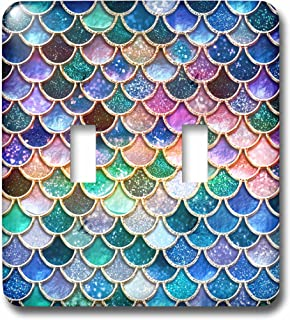 3dRose lsp/_275455/_2 Image of Small Blue Teal Luxury Elegant Mermaid Scales Glitter Toggle Switch