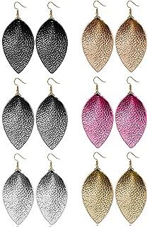 6 Pairs Teardrop Leather Earrings Set for Women Girls Leaf Dangle Drop Earring