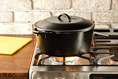 Lodge Cast Iron Dutch Oven with Handle Holders, 5 quart, Black/Red