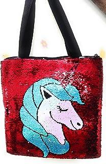 KIDOS JOY™ Stylish Unicorn colour changing reversible sequence handbag with smooth zipper /Large sling bag for kids & adul...
