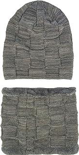 Ledamon Cashmere Winter Slouchy Beanie Cable Knit Skull Hat Scarf Set Ski Cap for Women Men