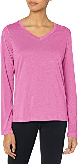 (freshberryheather, l) - Hanes Sport Women's CoolDri Performance Long-Sleeve V-Neck Tee