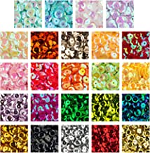 Crafare 7mm Loose Cup Sequins 16800PCS Rainbow Sequin Bulk Iridescent Spangles Craft Mixed 24 Color for Home DIY Arts Crafts