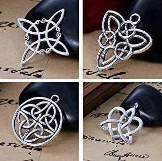 JGFinds Celtic Knot Charms, 40 pc (10 of Each) Silver Tone Pendants
