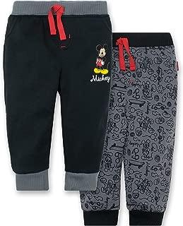 Disney Mickey Mouse Baby Boys' 2 Pack Fleece Drawstring Jogger Pants, Black