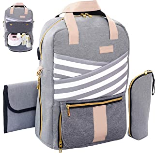 Breast Pump Backpack, Pumping Bag for Travel/Work, Fits Spectra S1, S2, Medela, Large Capacity Diaper Backpack with Changing Pad, Bottle Cooler Bag, Laptop Compartment, USB Charging Port