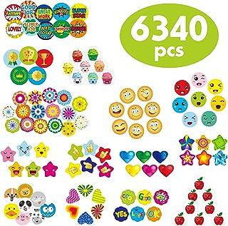"6340 pcs Teacher Reward Encouragement Motivational Sticker Mega Pack in 14 Themes (Each Measures 1/2""-3/4"" in Diameter)"