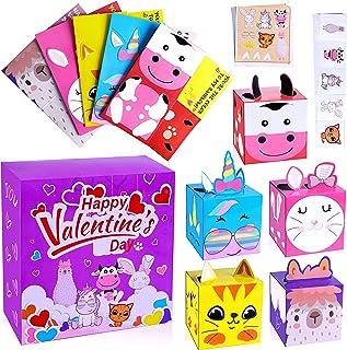 30 Packs Valentine CardsforKids Classroom - Valentines DIY 3D Box Card & V-Day Stickers & Temporary Tattoos - School Gif...