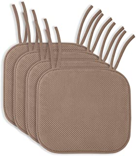 4 Pack: Ellington Home Non Slip Memory Foam Seat Cushion Chair Pads With Ties - 17