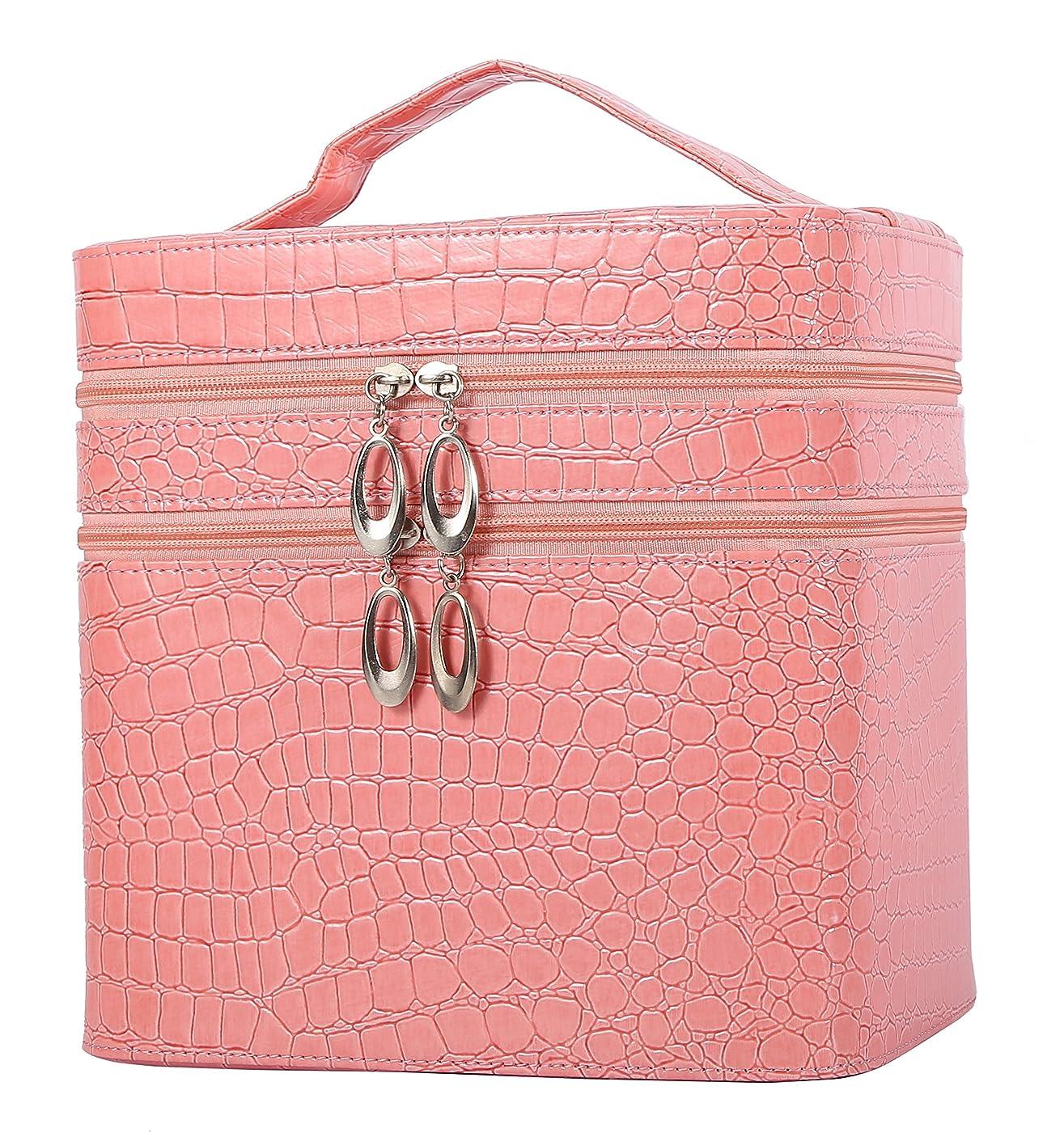 磨かれたギャングイタリアのHOYOFO メイクボックス 大容量 鏡付き おしゃれ コスメ収納 化粧品 収納 化粧 ボックス 2段タイプ ピンク
