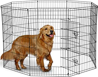 Paws & Pals Dog Exercise Pen Pet Playpens for Dogs - Puppy Playpen Outdoor Back or Front Yard Fence Cage Fencing Doggie Rabbit Cats Playpens Outside Fences with Door - Metal Wire 8-Panel Foldable