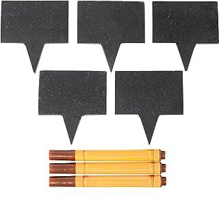 ملصقات جبن صخب السبورة - 5 لوحات صخرية طبيعية و3 أقلام طبشور من أحجار الصابون للحفلات والعشاء | فكرة هدية مثالية