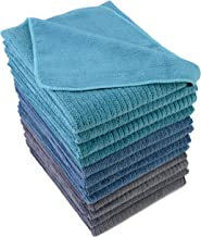 Polyte Premium Microfiber All-Purpose Ribbed Terry Kitchen Towel (Blue, Gray, Teal, 16x28) 12 Pack