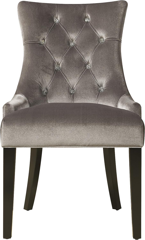 Pulaski Upholstered Button Tufted Dining Chair, Silver Chrome Velvet