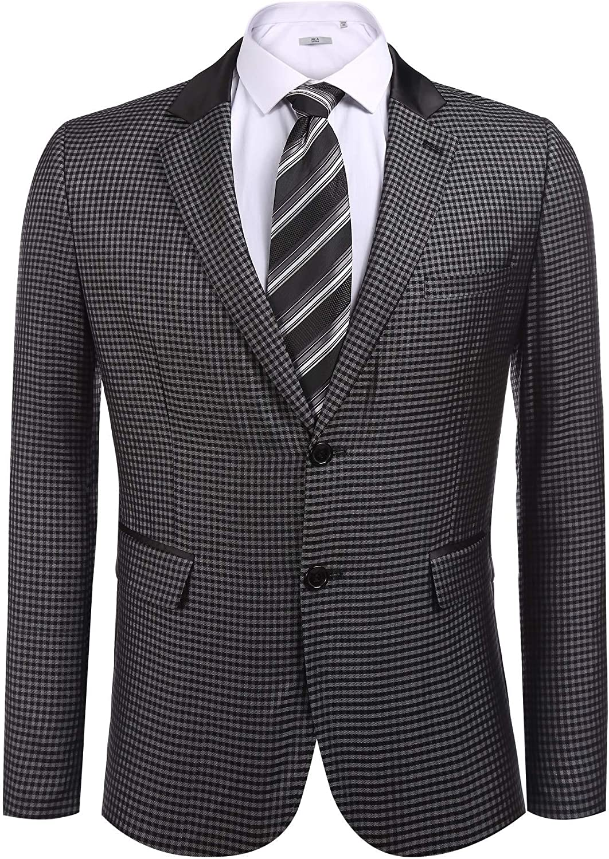 COOFANDY Men's Elegant Regular Fit One Button Plaid Tweed Dress Suit Blazer Jacket (XXL, Type 4 Blue)