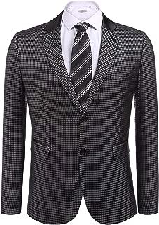 COOFANDY Men's Elegant Regular Fit One Button Plaid Tweed Dress Suit Blazer Jacket