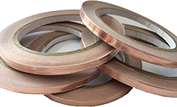 JWtextec Copper Foil Tape Dual Conductivity Conductive Tape 0.6cmX20m Conductive Adhesive Tape Slug Repellent, EMI Shielding, Stained Glass, Paper Circuits, Electrical Repairs