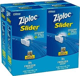 Ziploc Slider Freezer Bags, Quart, 4 Pack, 34 Ct (136 Total Bags)