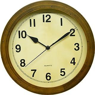 さんてる レトロ 掛け時計 (丸型) 日本製 電波 ブラウン DQL501