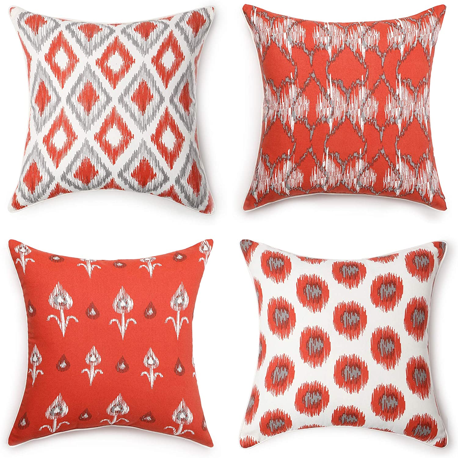 REDEARTH Printed Throw Pillow Cushion Covers-Woven Decorative Farmhouse Cases Set for Couch, Sofa, Bed, Chair, Dining, Patio, Outdoor, car; 100% Cotton (18x18; Tangerine1) Pack of 4