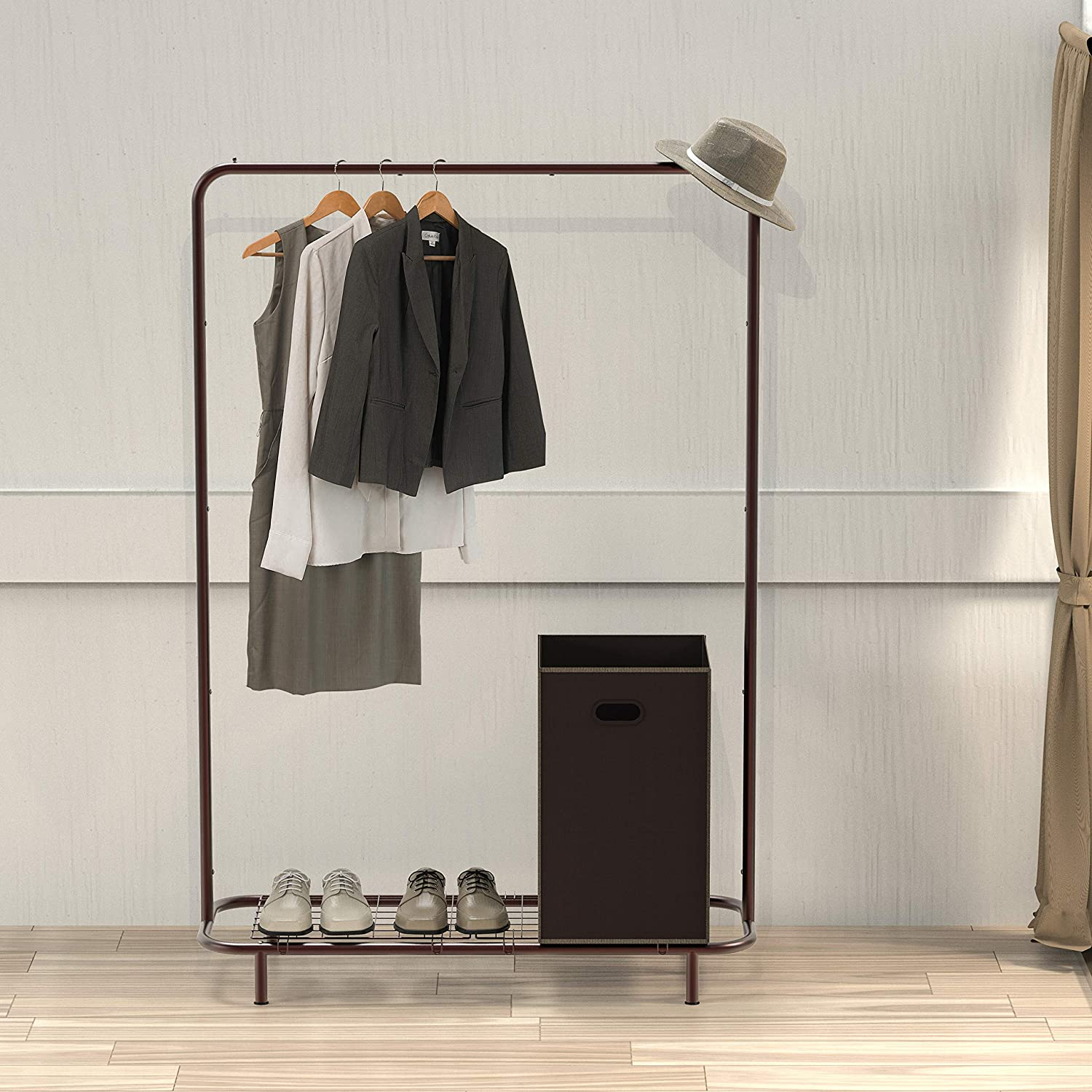 Simple Houseware Industrial Pipe Clothing Garment Rack with Bottom Shelves, Bronze: Home & Kitchen