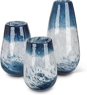 Lone Elm 94097 Blue Art Glass Vase (Set of 3), 6.8
