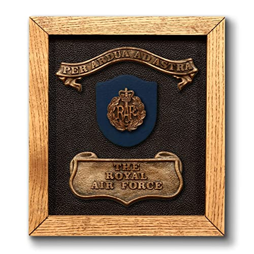 Royal Air Force Solid Oak RAF Plaque With Official Badge And Motto The Perfect