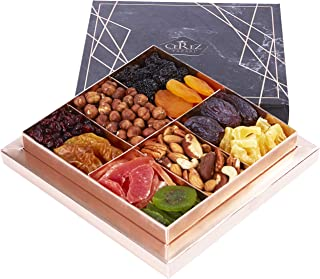 Cerez Pazari Dried Fruit and Nut Gift Basket Black Elegant Box 1.32Lbs 10 Variety Holiday Healthy Snack