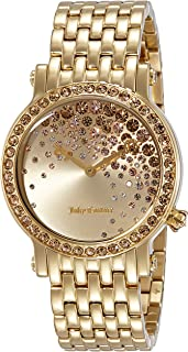 Juicy Couture Womens Quartz Watch, Analogue Classic Display and Gold Plated Strap 1901280