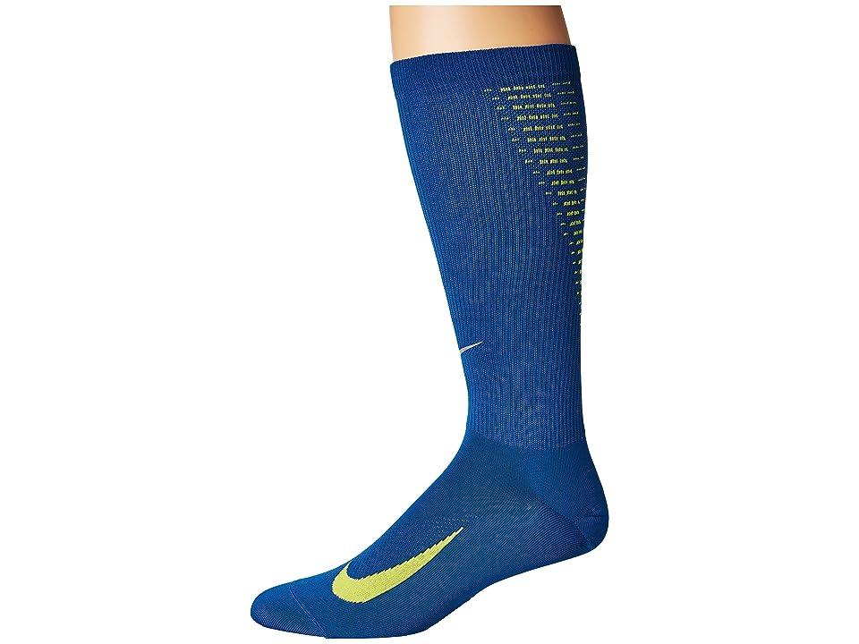 Nike Elite Run Lightweight 2.0 Crew (Industrial Blue/Volt/Reflect Silver) Crew Cut Socks Shoes