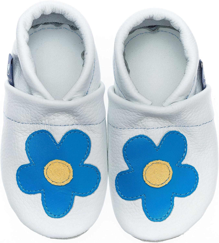 Pantau IT'S A SMALL WORLD kruipschoenen midden bloem leer Wit lichtblauw geel