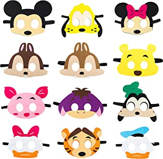 MALLMALL6 12Pcs Mickey Masks Birthday Party Supplies Mickey Theme Dress Up Costume Mask Include Minnie Donald Daisy Goofy Winnie Tiger Chip Dale Pluto Pretend Play Party Favors for Kids Boys Girls