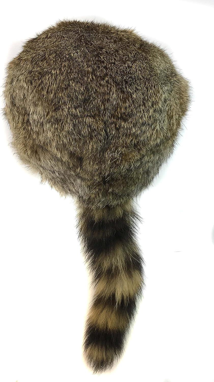 surell Coonskin Davy Crockett Hat - Rabbit Fur Crown - Raccoon Tail Hat - Brown