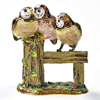 KALIFANO Decorative Owl Family on Branch Jewelry/Keepsake Box with Swarovski Element Crystals for Storage and Organization - Handmade Magnetic Trinket Box