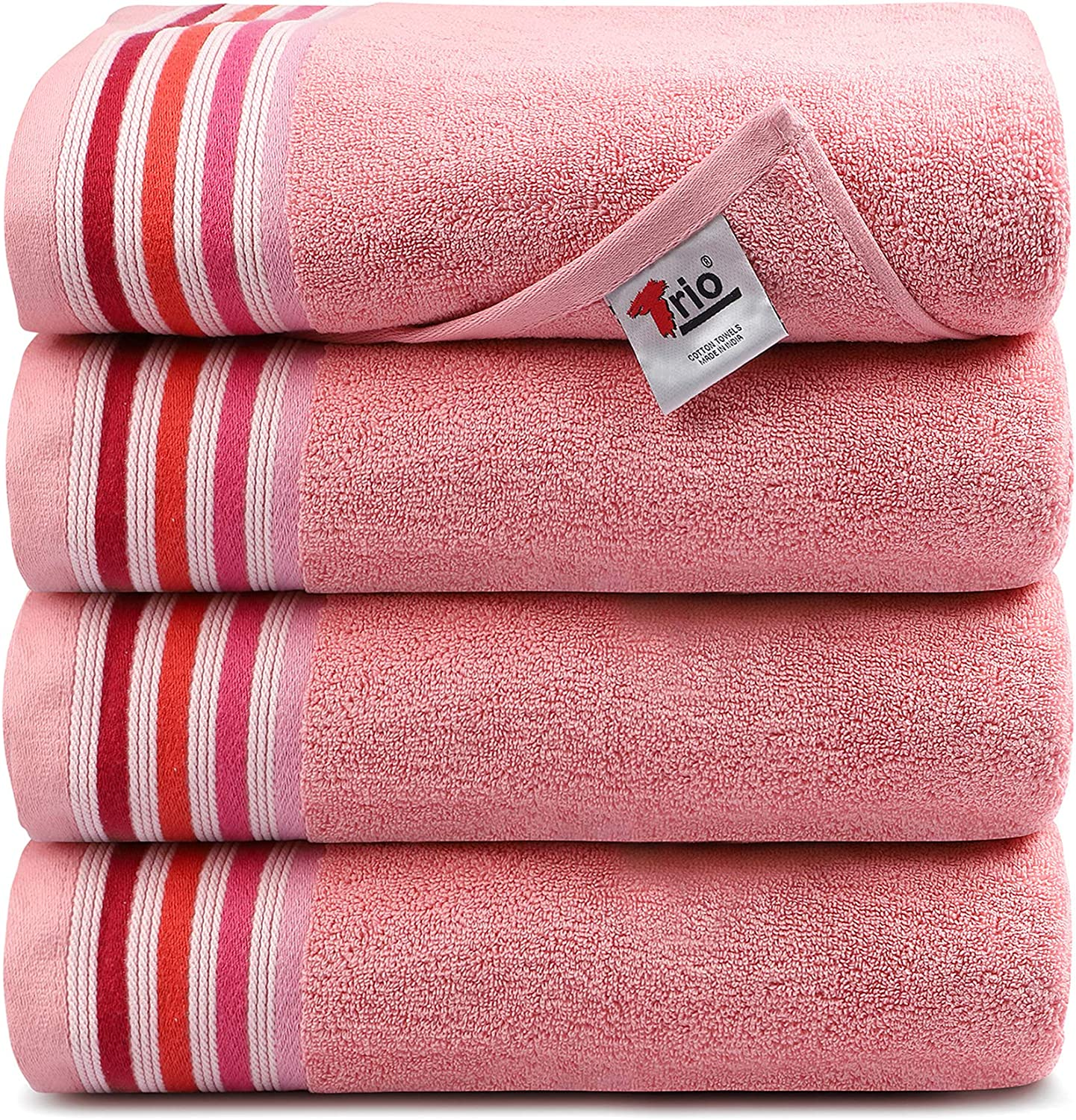 Trio Bath Towels 4 Piece Towel Larg Ultra Set Ranking TOP16 Beauty products Soft 100% Cotton-4