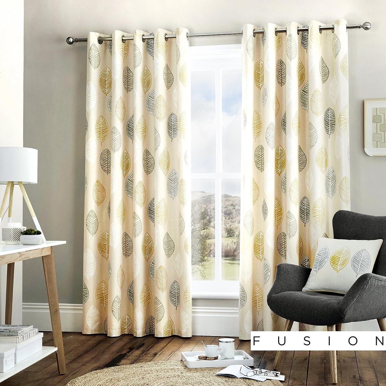 "Fusion - Skandi Leaf - 100% Cotton Ready-Made Pair of Eyelet Curtains - 66"" Width x 90"" Drop (168 x 229cm) in Ochre 66"" Width x 90"" Drop Ochre"