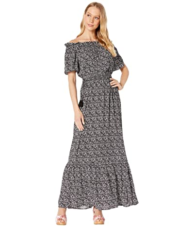 1.STATE Off the Shoulder Cinched Waist Ditsy Petals Maxi Dress (Rose Linen) Women