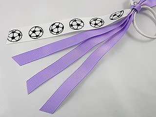 Soccer Ribbon Ponytail Hair Tie Ribbon Streamers Lavender