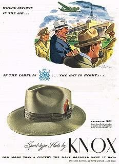 Knox Foxhound Sport Men's Hat 1944 Original Vintage Ad
