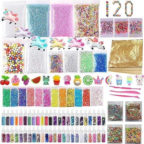 120 Pack Slime Making Kits Supplies,Gold Leaf,Foam Balls,Glitter Shake Jars,Fishbowl Beads,Fruit Slices,Fake Sprinkle...