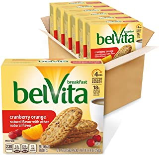 belVita Cranberry Orange Breakfast Biscuits, 6 Boxes of 5 Packs (4 Biscuits Per Pack)