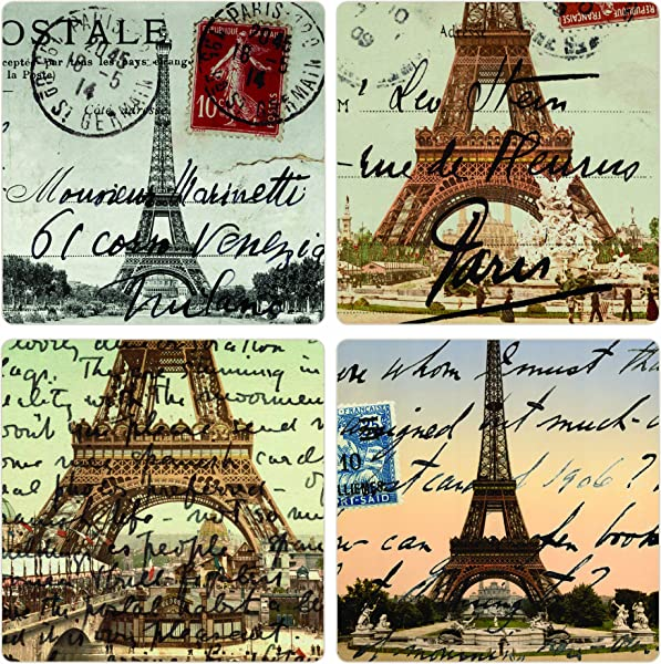 CoasterStone AS2710 Absorbent Coasters 4 1 4 Inch Paris Set Of 4