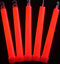 "Glow Sticks Bulk Wholesale, 25 6"" Industrial Grade Red Light Sticks. Bright Color, Glow 12-14 Hrs, Safety Glow Stick with 3-Year Shelf Life, GlowWithUs Brand"